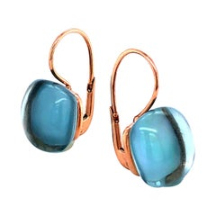 Sky Topaz London on Rose Gold 18 Karat Drop Earrings