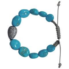 Sky Topaz Pave and Turquoise Bracelet