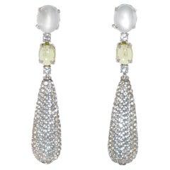 Sky Topaz, Peridot and Moonstone on White Gold 18 Karat Chandelier Earrings