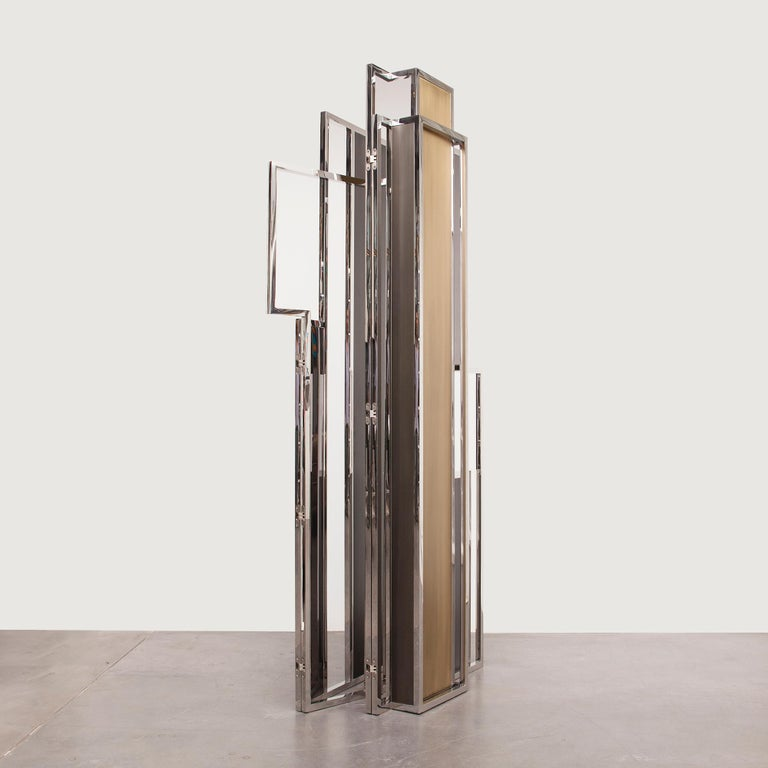 Modern Skyline, Room Divider in Stingray Leather, Stainless Steel, Brass and Lacquer For Sale