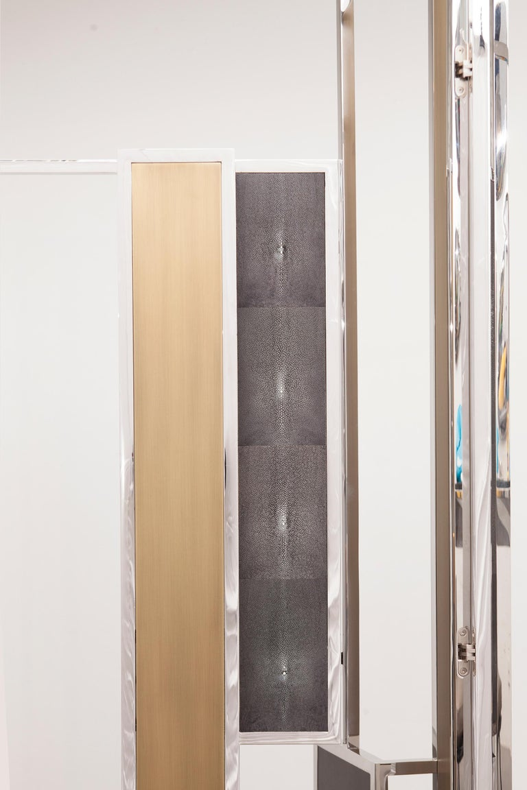 Lebanese Skyline, Room Divider in Stingray Leather, Stainless Steel, Brass and Lacquer For Sale