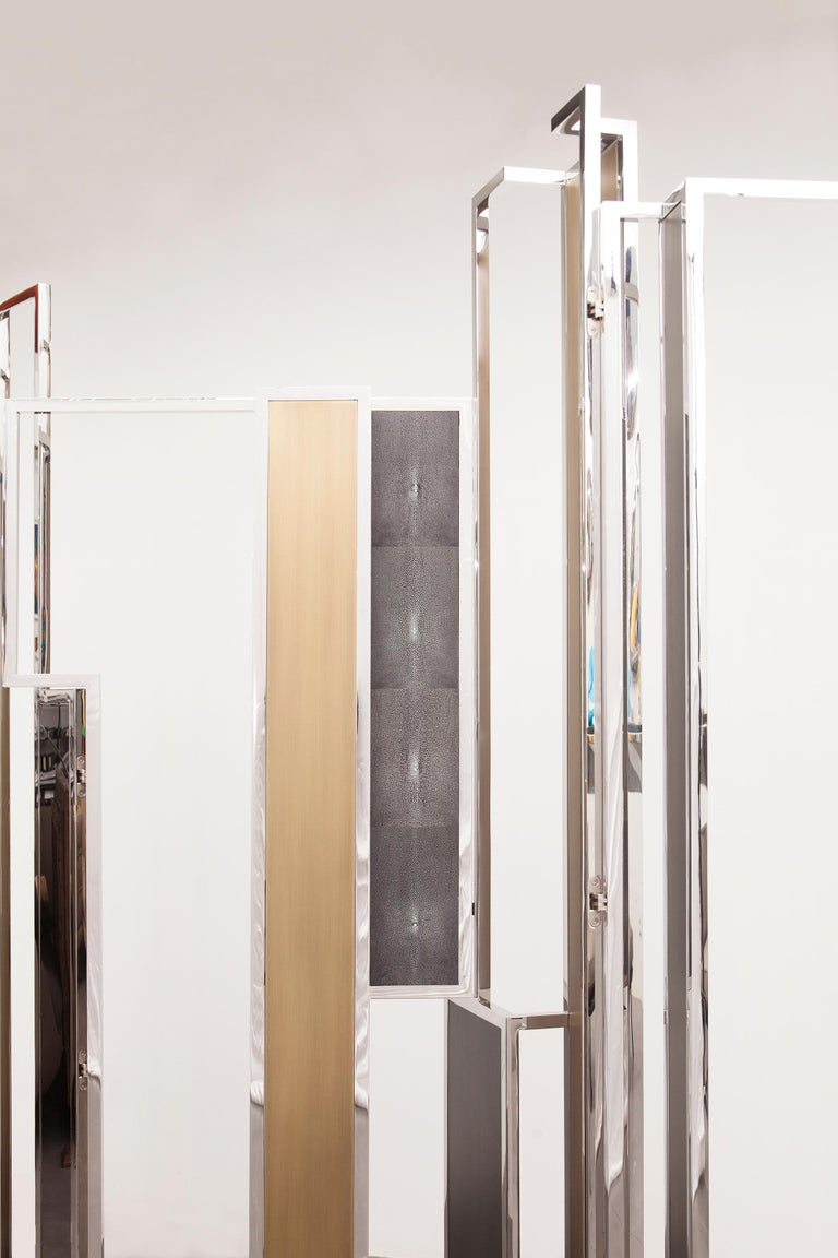 Brushed Skyline, Room Divider in Stingray Leather, Stainless Steel, Brass and Lacquer For Sale