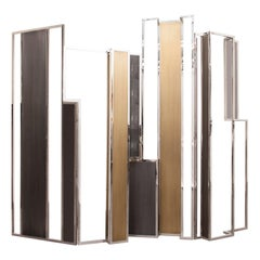 Skyline, Room Divider in Stingray Leather, Stainless Steel, Brass and Lacquer
