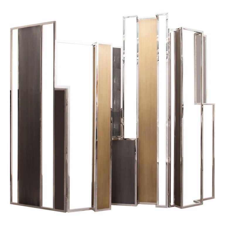 Skyline, Room Divider in Stingray Leather, Stainless Steel, Brass and Lacquer For Sale
