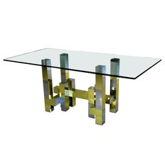 Skyline Style Brass and Chrome Dining Room Table after Paul Evans