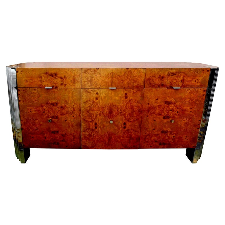 """""""Skyscraper"""" Burled Elm and Chrome Milo Baughman Inspired Credenza For Sale"""