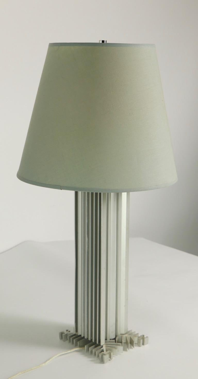 International Style Skyscraper Form Machined Aluminum Table Lamp For Sale