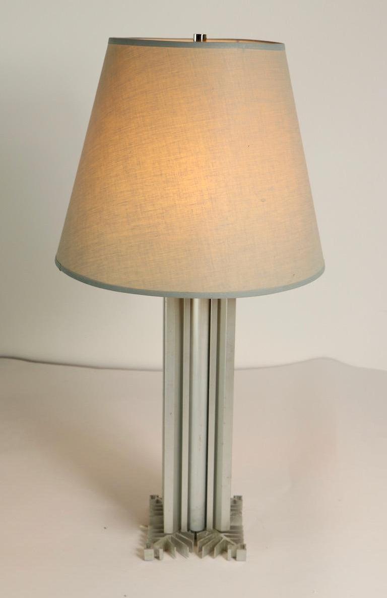 American Skyscraper Form Machined Aluminum Table Lamp For Sale