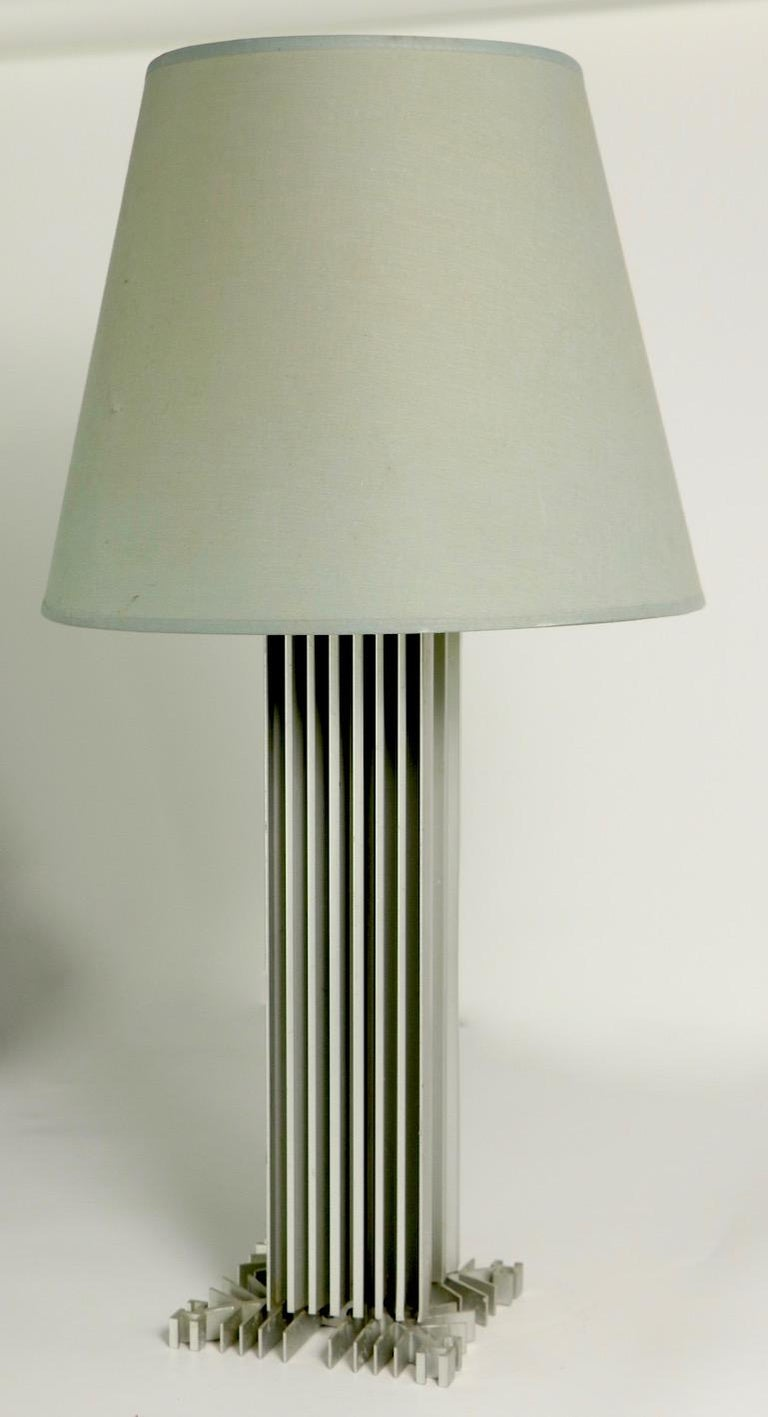 20th Century Skyscraper Form Machined Aluminum Table Lamp For Sale
