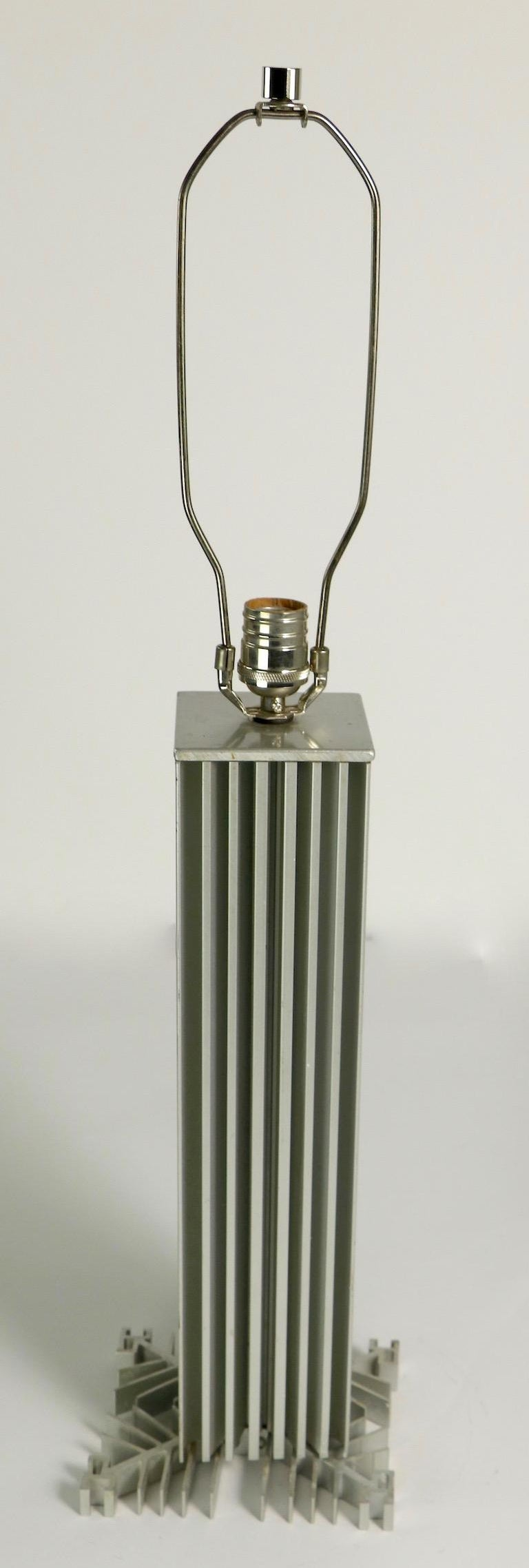 Skyscraper Form Machined Aluminum Table Lamp For Sale 1