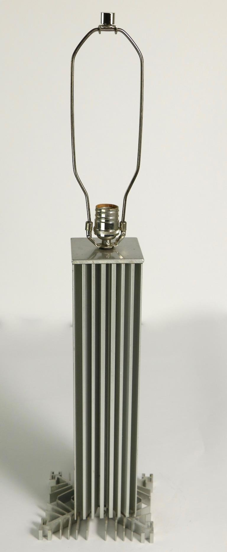 Skyscraper Form Machined Aluminum Table Lamp For Sale 2