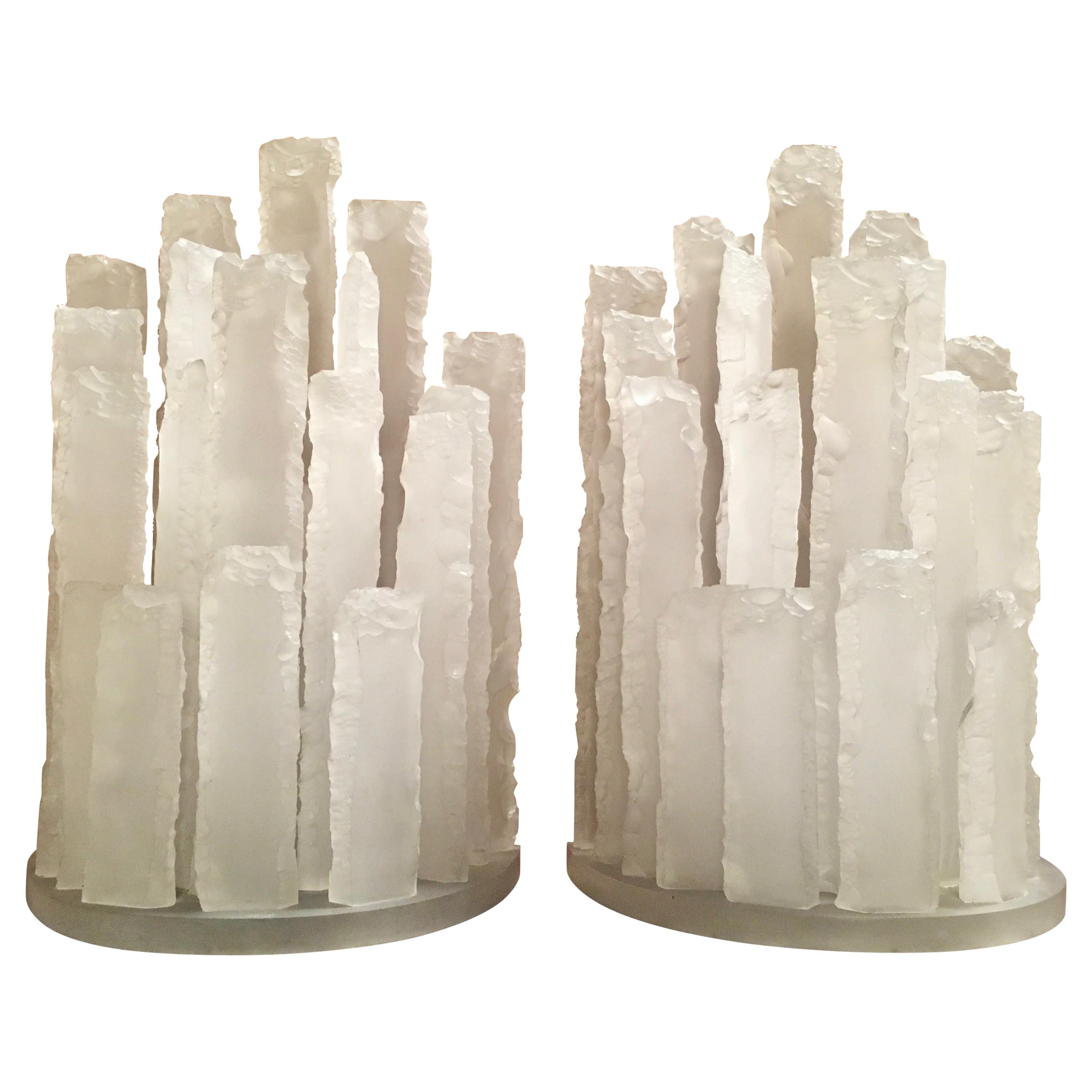 Skyscraper Frosted Lucite Lamps