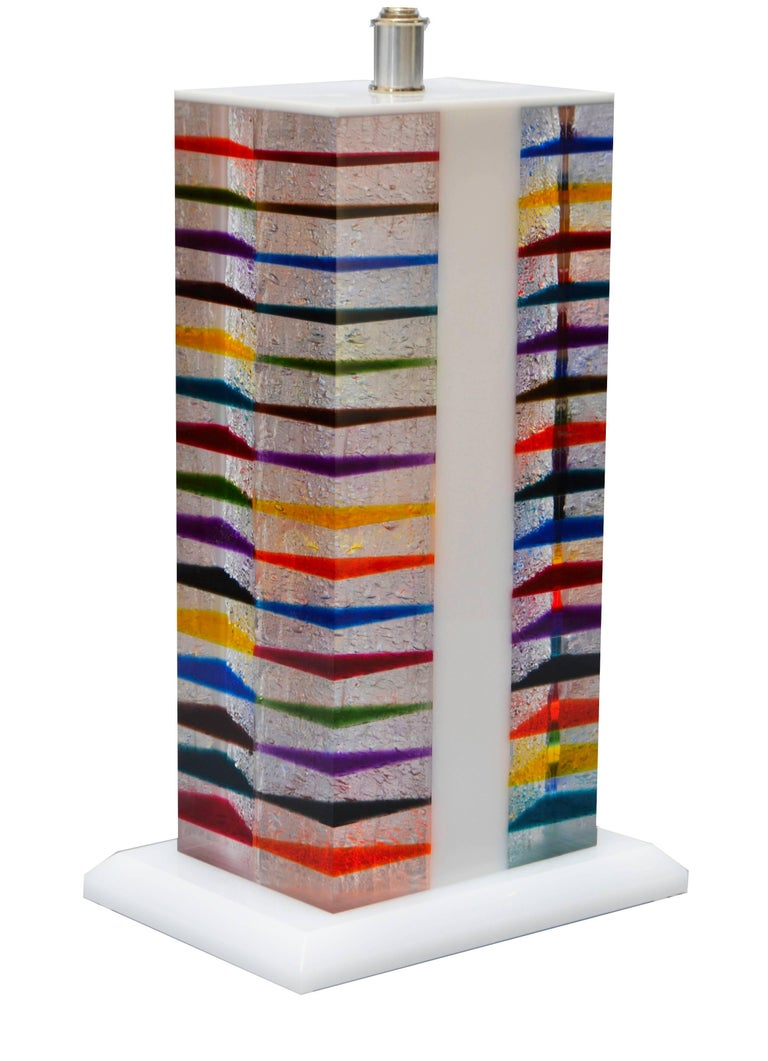 Modern Skyscraper Style Lucite Table Lamp and Shade For Sale