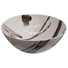 Slab Built Ceramic Bowl with Hand Decorated Slip Design