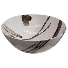 Slab Built Ceramic Bowl with Hand Decorated Slip Design