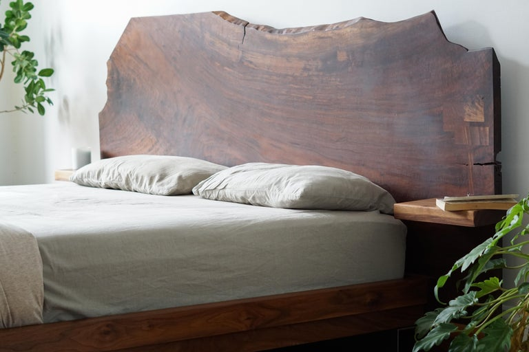 Slab Nº3 Modern Claro Walnut Slab Queen Headboard, Floating Shelf and Steel Base For Sale 5