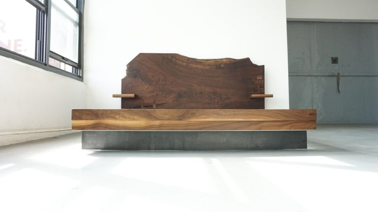 Contemporary Slab Nº3 Modern Claro Walnut Slab Queen Headboard, Floating Shelf and Steel Base For Sale