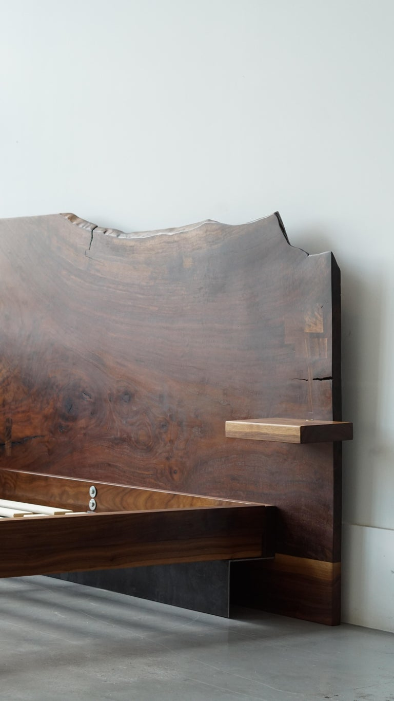 Slab Nº3 Modern Claro Walnut Slab Queen Headboard, Floating Shelf and Steel Base For Sale 1