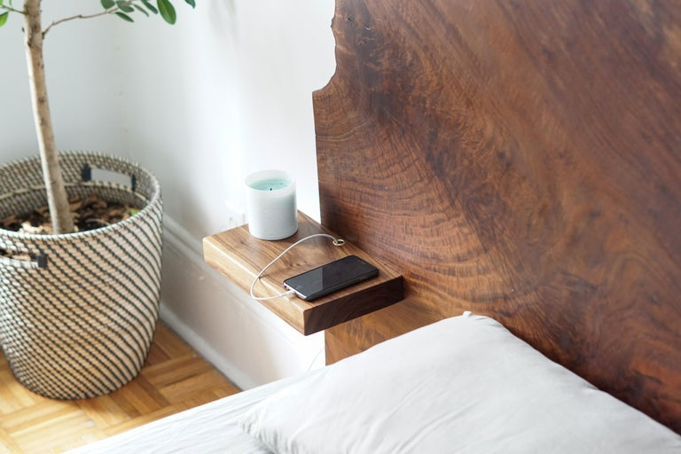 Slab Nº3 Modern Claro Walnut Slab Queen Headboard, Floating Shelf and Steel Base For Sale 4