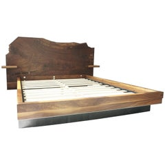 Slab Nº3 Modern Claro Walnut Slab Queen Bed, Floating Shelf by Ordinal Indicator