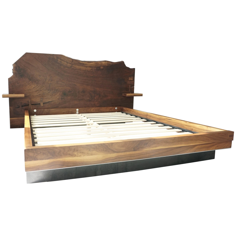 Slab Nº3 Modern Claro Walnut Slab Queen Bed by Ordinal Indicator