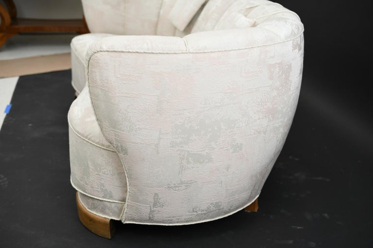 Upholstery Slagelse Danish Banana Sofa, circa 1940s For Sale
