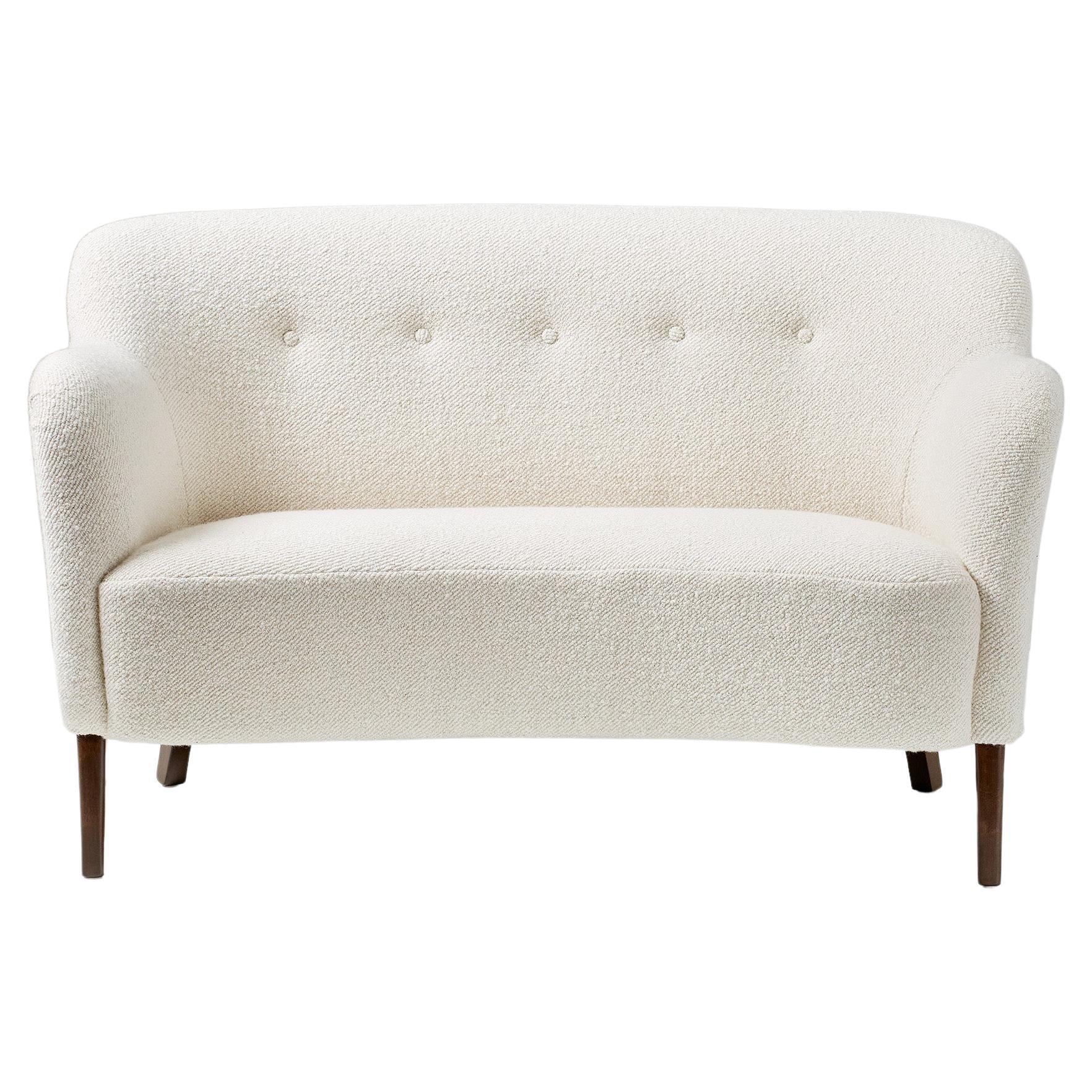 Slagelse Mobelvaerk 1950s Curved Boucle Sofa