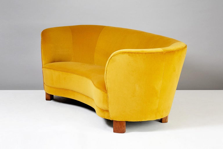 Curved sofa from Danish cabinetmakers Slagelse Mobelvaerk produced in Denmark circa 1940s. Oiled, patinated oak legs and new mustard yellow cotton velvet upholstery from Pierre Frey, Paris.