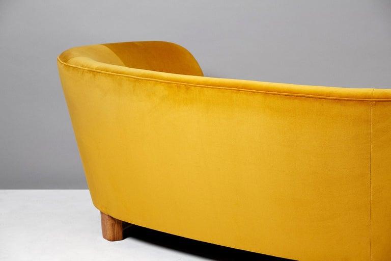 Danish Slagelse Mobelvaerk 1950s Curved Velvet Sofa For Sale