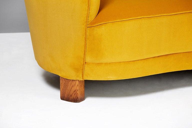 Mid-20th Century Slagelse Mobelvaerk 1950s Curved Velvet Sofa For Sale