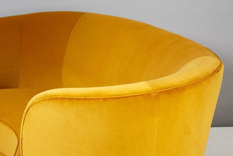 Oak Slagelse Mobelvaerk 1950s Curved Velvet Sofa For Sale