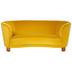 Slagelse Mobelvaerk 1950s Curved Velvet Sofa