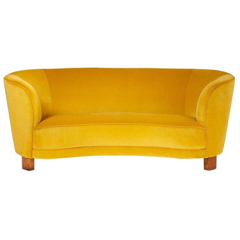 Slagelse Mobelvaerk 1950s Curved Velvet Sofa For Sale