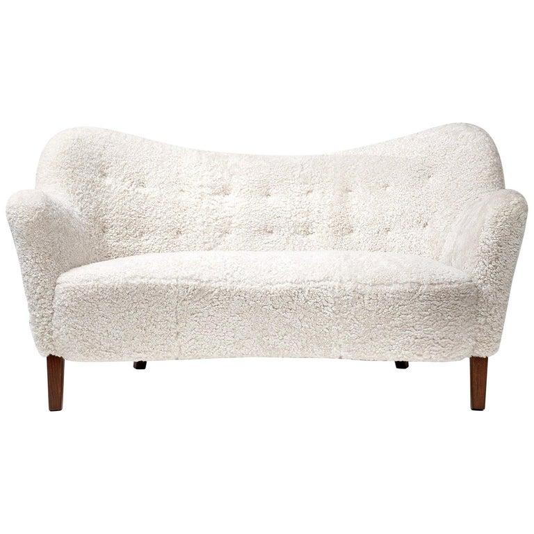 Slagelse Mobelvaerk 1950s Sheepskin Sofa For Sale