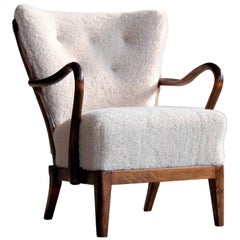 Slagelse Mobelvaerk Model 117 Lounge Chair in Lambswool Danish Midcentury