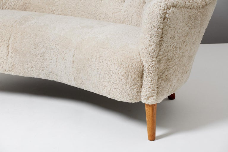Danish Slagelse Mobelvaerk Model 185 Vintage Sheepskin Sofa For Sale