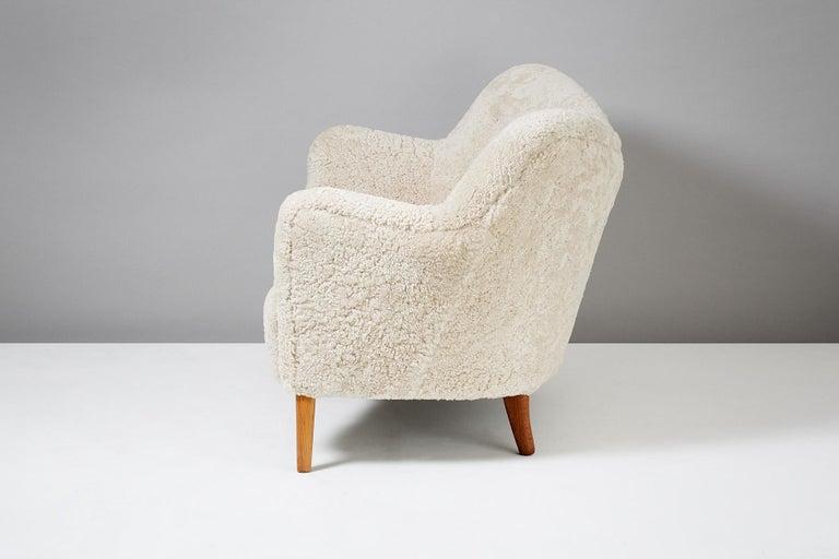 Mid-20th Century Slagelse Mobelvaerk Model 185 Vintage Sheepskin Sofa For Sale