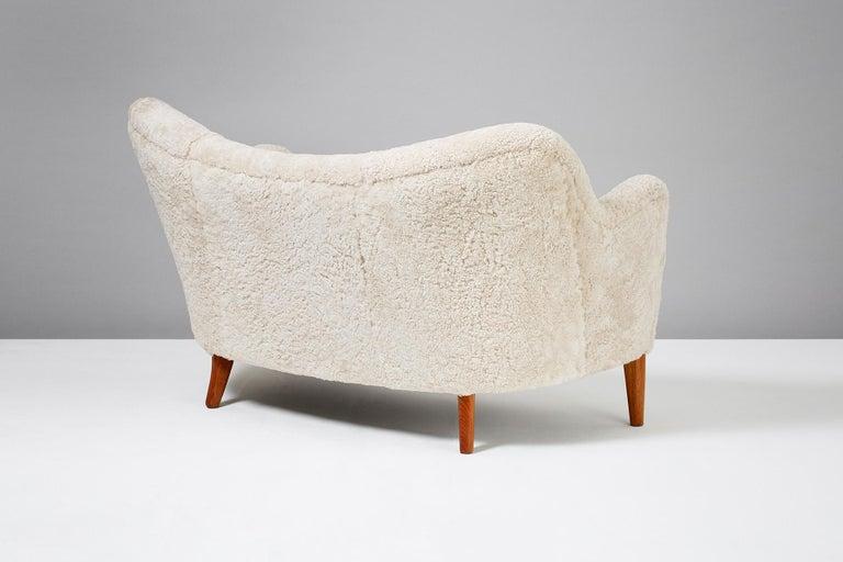 Slagelse Mobelvaerk Model 185 Vintage Sheepskin Sofa For Sale 2