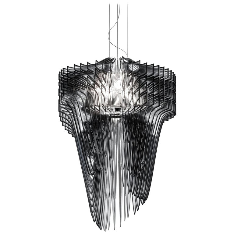 SLAMP Aria Extra Large Pendant Light in Black Shade by Zaha Hadid For Sale