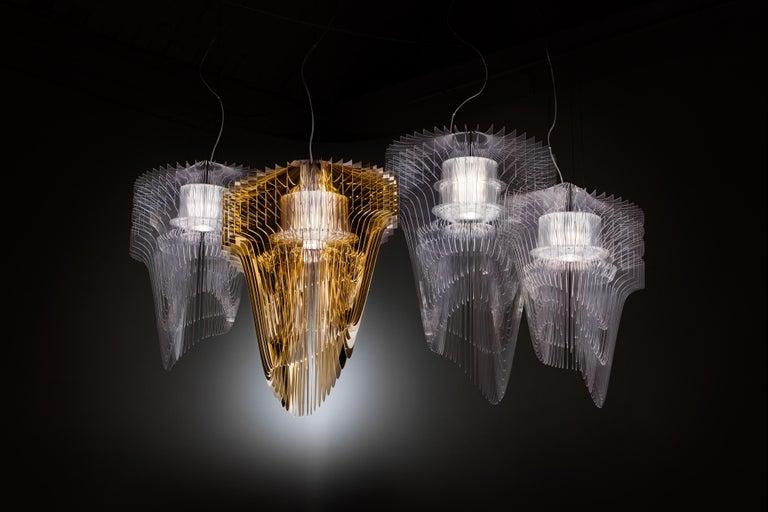 Italian SLAMP Aria Medium Pendant Light in Gold by Zaha Hadid For Sale