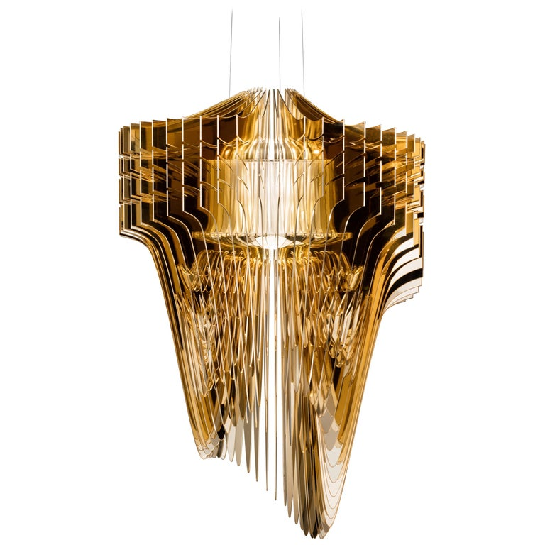 SLAMP Aria Medium Pendant Light in Gold by Zaha Hadid For Sale