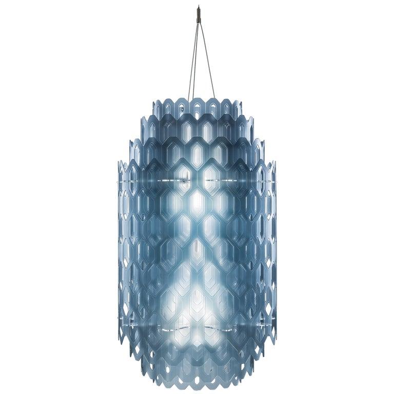 SLAMP Chantal Medium Pendant Light in Blue by Doriana & Massimiliano Fuksas For Sale