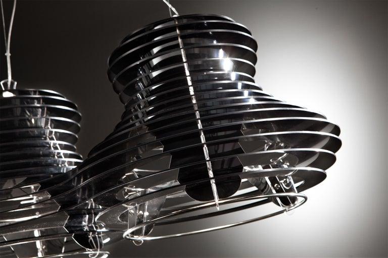 Modern SLAMP Faretto Double Pendant Light in Black by Nigel Coates For Sale