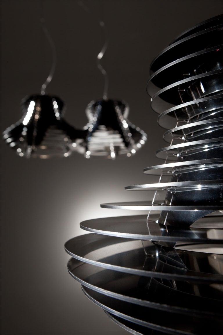 Italian SLAMP Faretto Double Pendant Light in Black by Nigel Coates For Sale