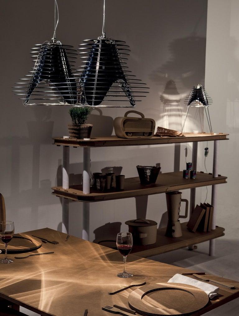 Contemporary SLAMP Faretto Double Pendant Light in Black by Nigel Coates For Sale