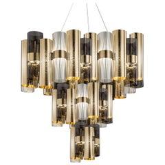 SLAMP La Lollo Extra Large Pendant Light in Gold & Fumé by Lorenza Bozzoli