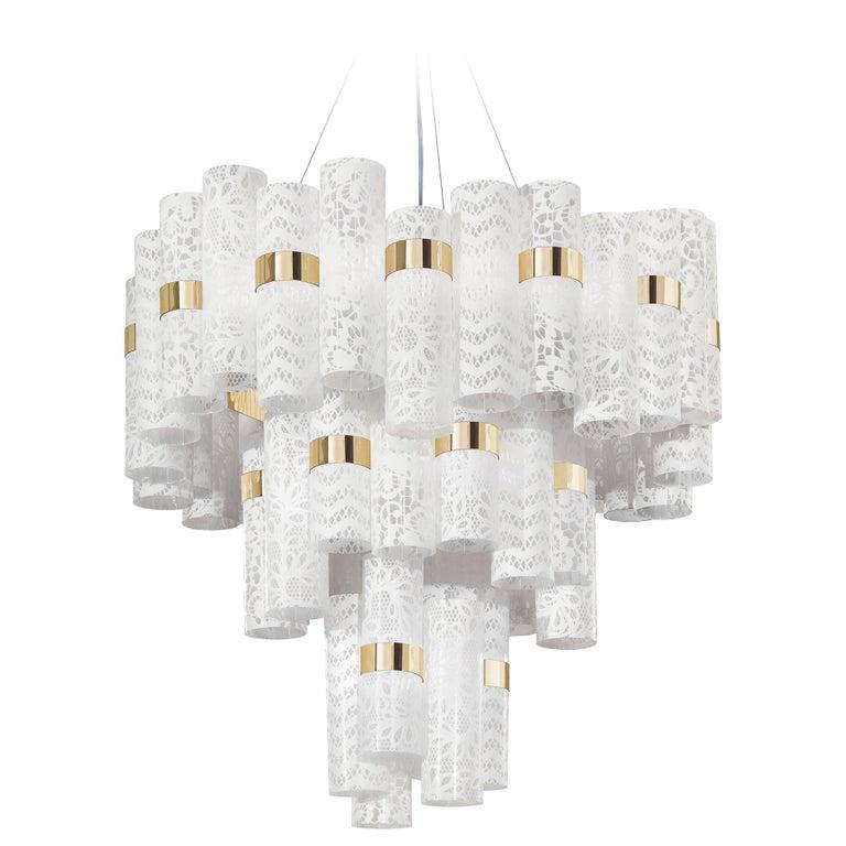 Slamp La Lollo Extra Large Pendant Light In White Lace By Lorenza Bozzoli For