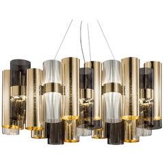SLAMP La Lollo Large Pendant Light in Gold & Fumé by Lorenza Bozzoli