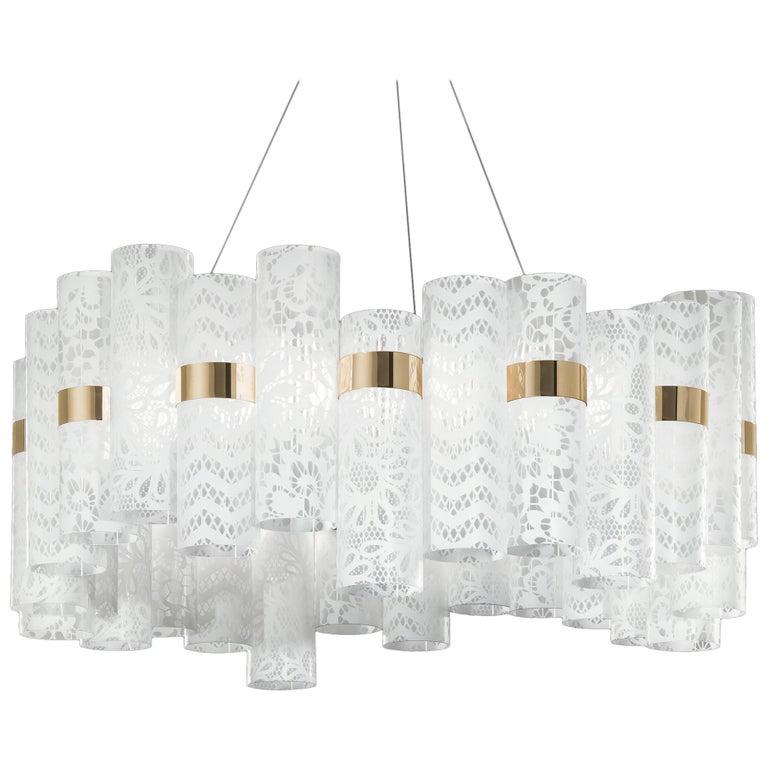 Slamp La Lollo Large Pendant Light In White Lace By Lorenza Bozzoli For