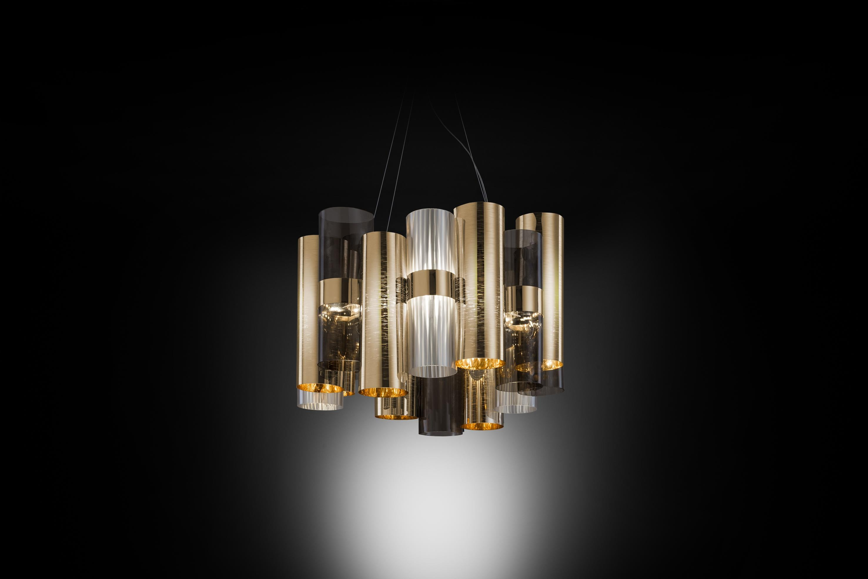 Slamp La Lollo Medium Pendant Light In Gold Fumé By Lorenza Bozzoli